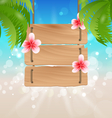 Hanging wooden guidepost with exotic flowers vector image