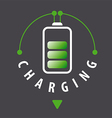 logo battery is recharged via a cable vector image vector image