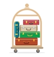 Baggage luggage suitcases on trolley vector image