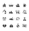 alcoholism icons set flat design vector image