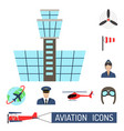 aviation icons set airline station airport symbols vector image