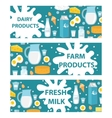Dairy banner Flat style Milk products board vector image