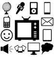 Media and communication icons set FLat vector image