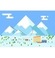 Mountain village hotel ski resort holidays bus vector image