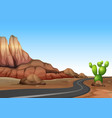 nature scene with empty road in desert land vector image