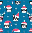 seamless pattern with french bulldogs with santa vector image