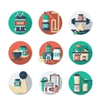 Sports lifestyle round detailed color icons vector image