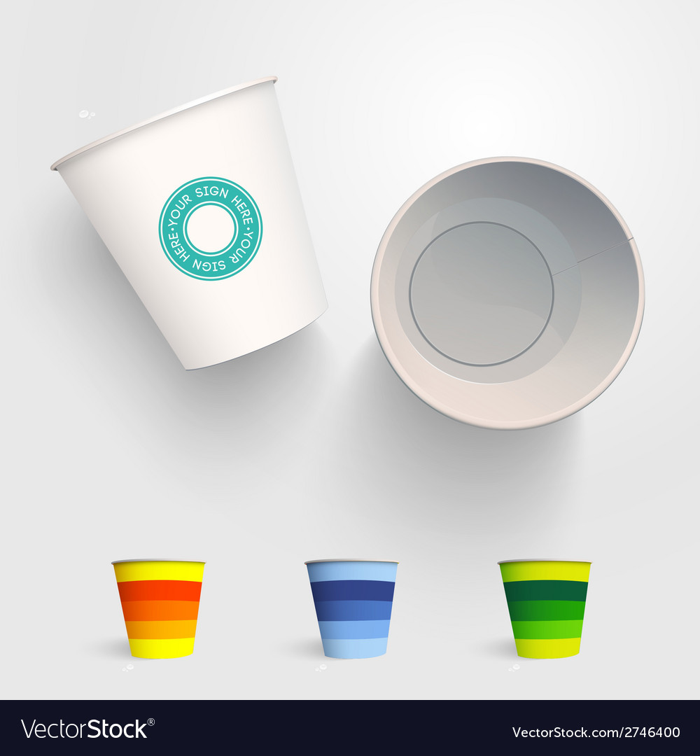 Realistic 3d paper cup template vector