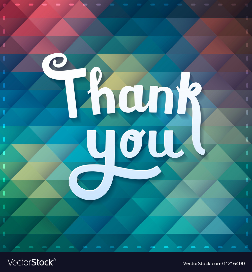 Thank you card on colorful magic geometric vector