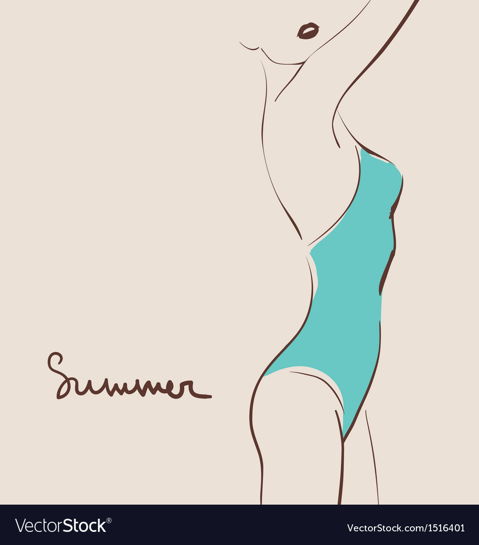 Beautiful woman body in swimsuit vector
