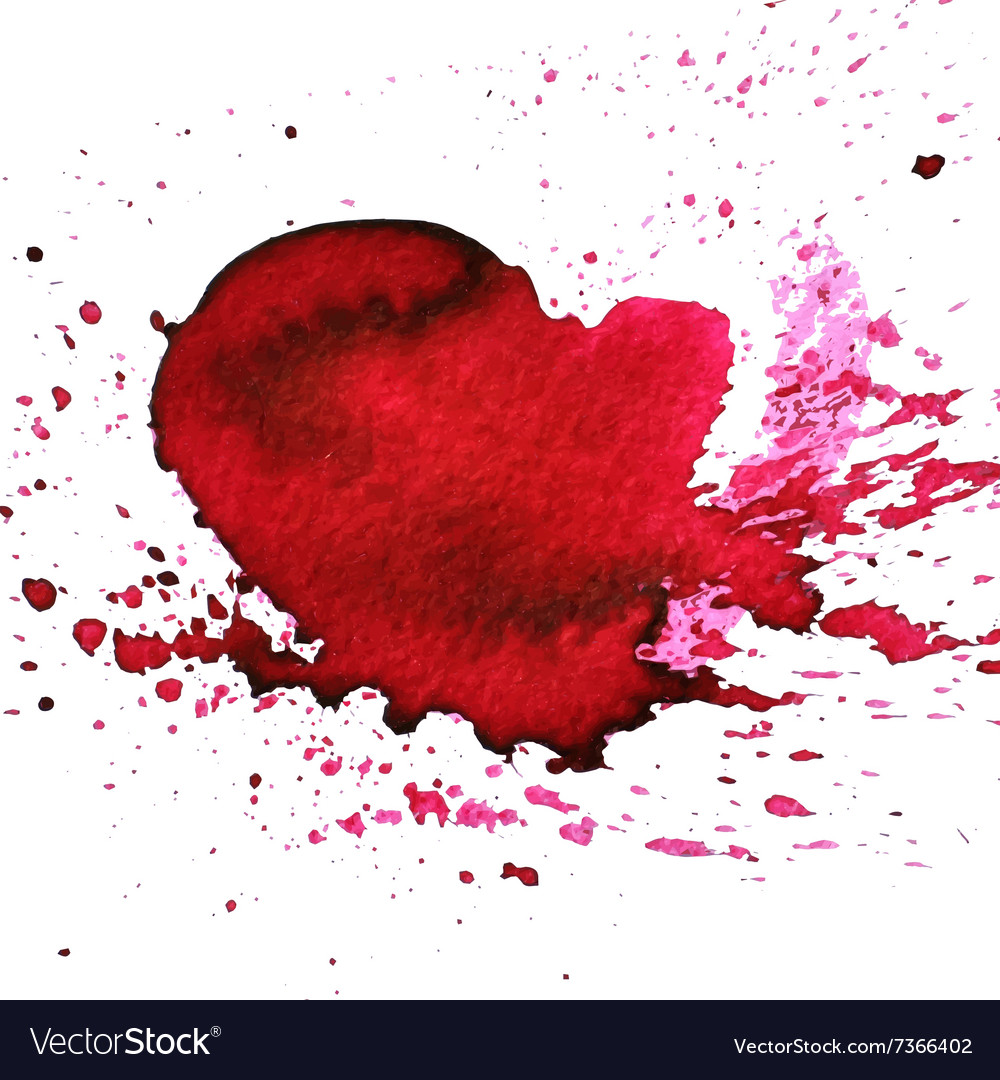 Handdrawn watercolour red heart with splatter vector
