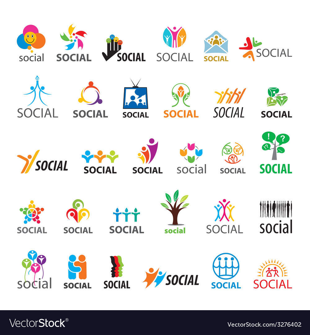 Large set of logos social vector