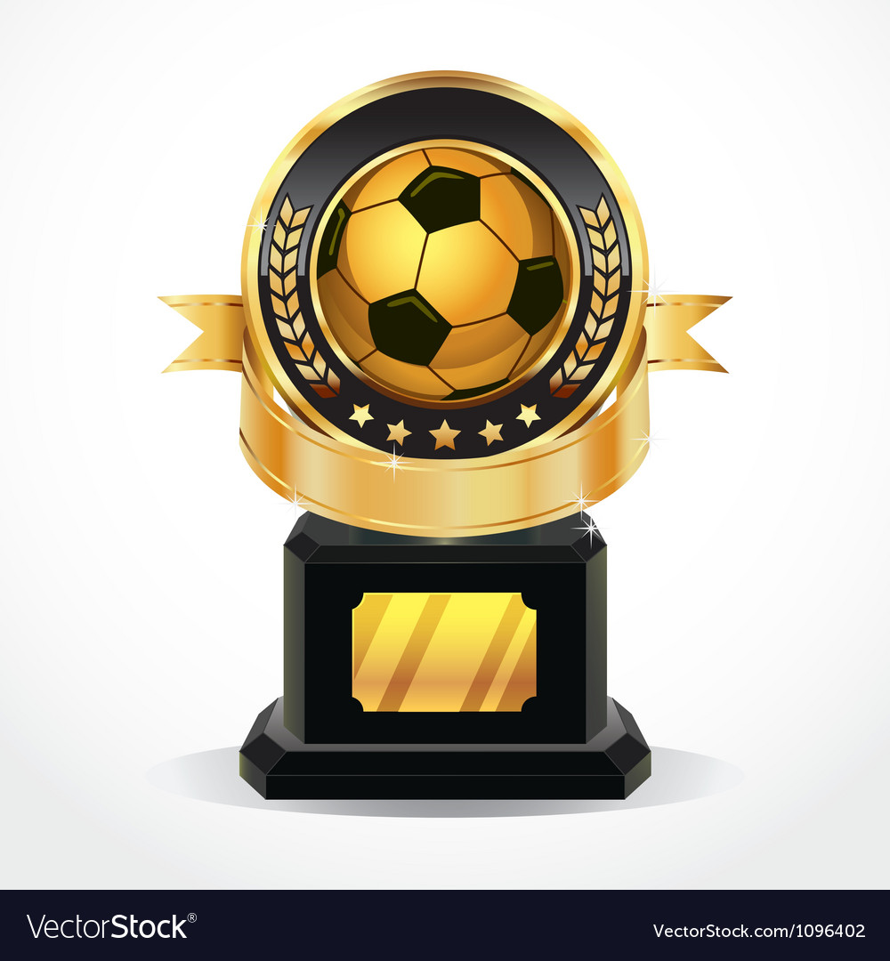 Soccer golden award medals vector