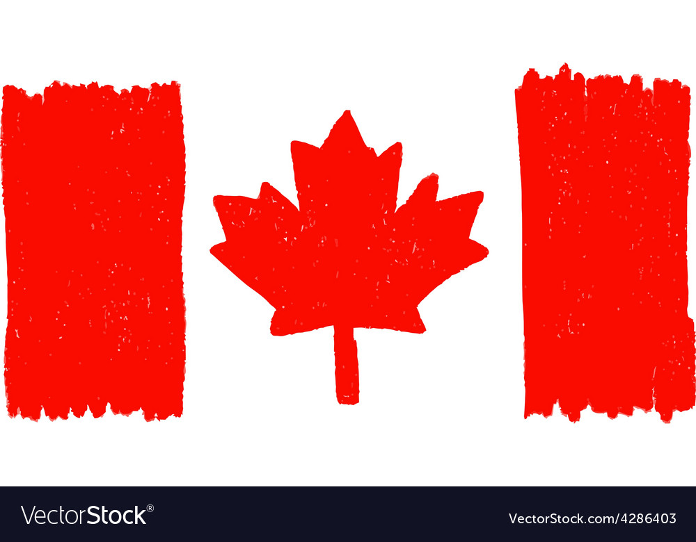 Flag of canada handmade vector