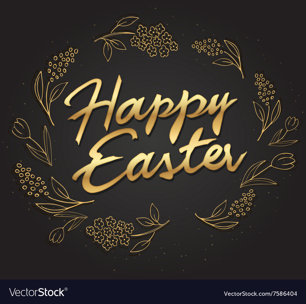 Hand drawn easter lettering gold greeting vector