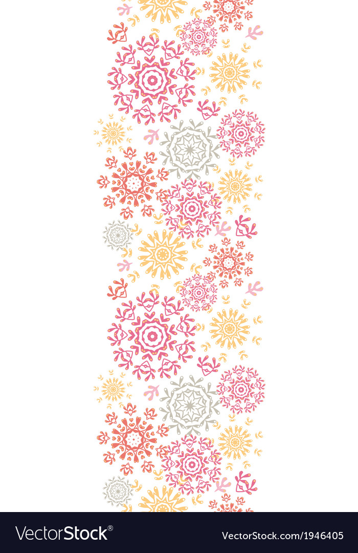 Folk floral circles abstract vertical seamless vector