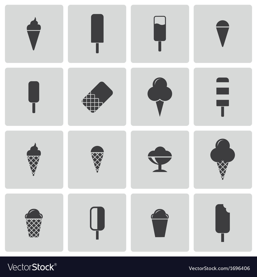 Black ice cream icons set vector