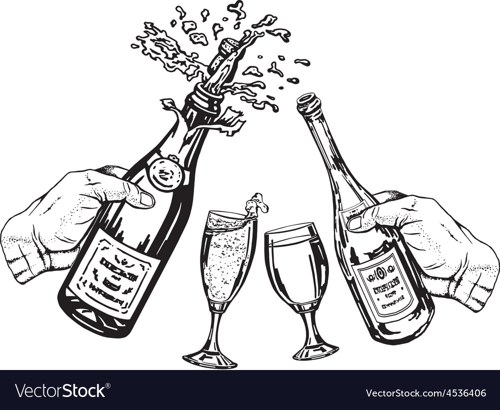 Bottle of champagne and bottle of wine in hand and vector