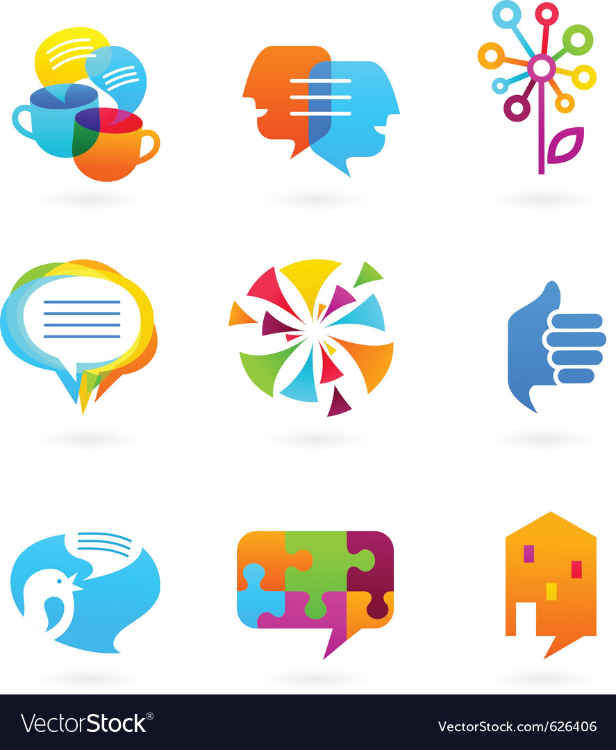 Collection of social media and network icons vector