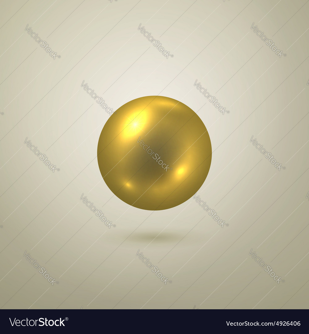 Glossy gold sphere vector
