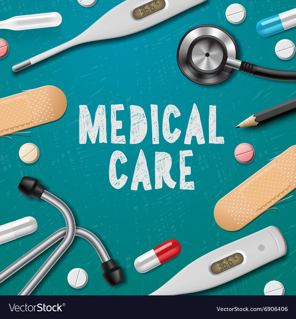 Medical care medicine template vector