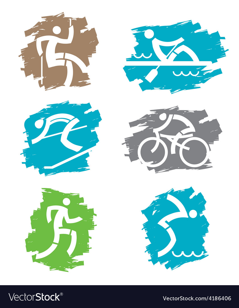 Outdoor sport grunge icons vector