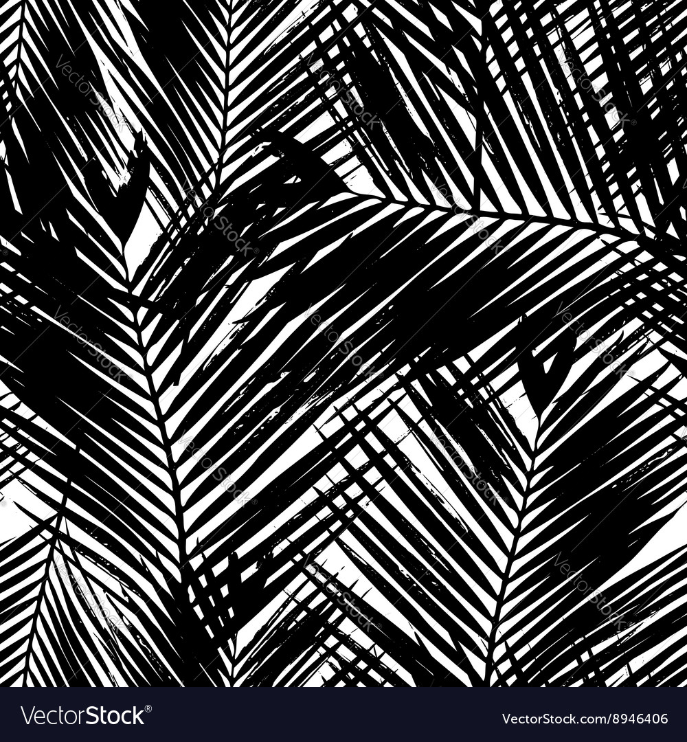 Palm tree leaves seamless pattern vector