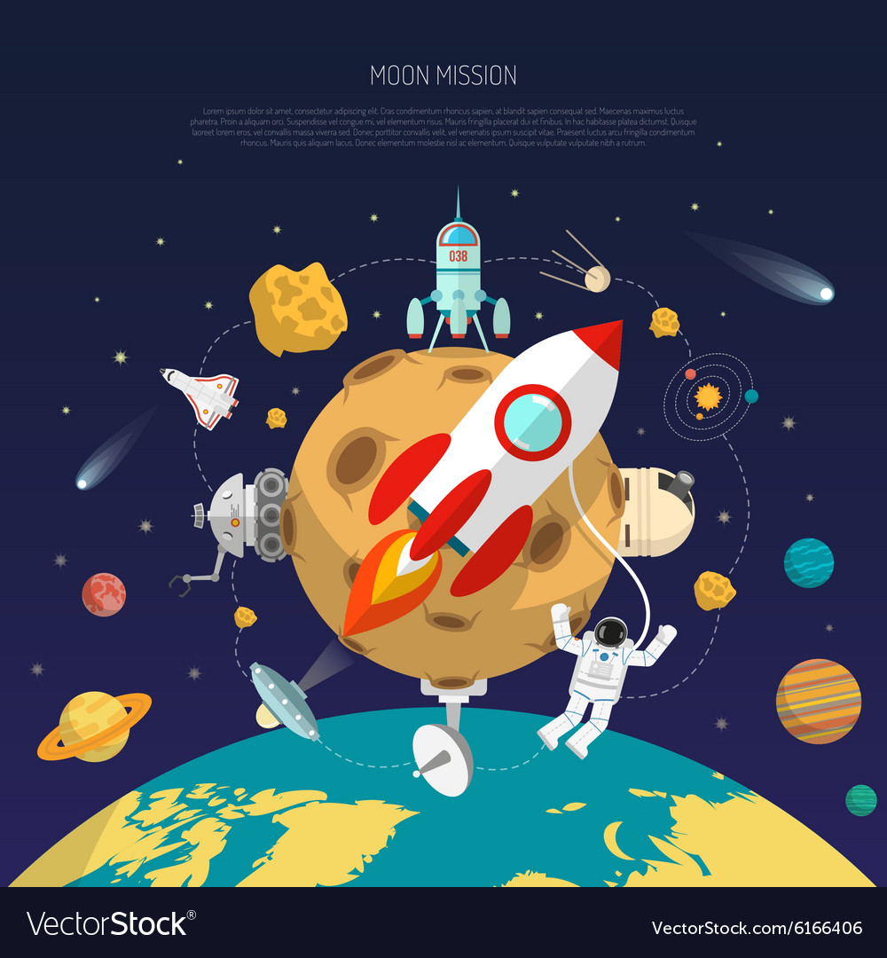 Space mission concept vector