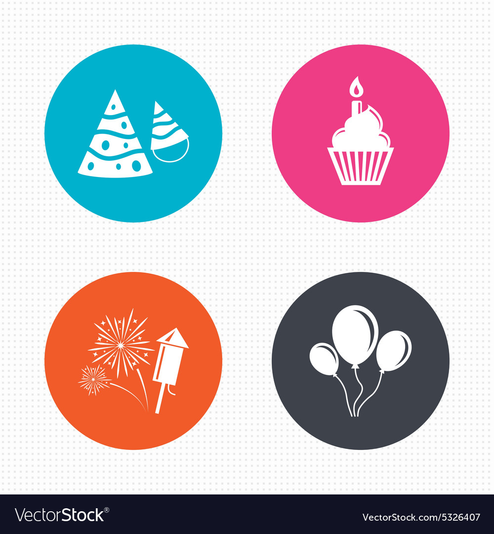 Birthday party cake balloon hat and fireworks vector