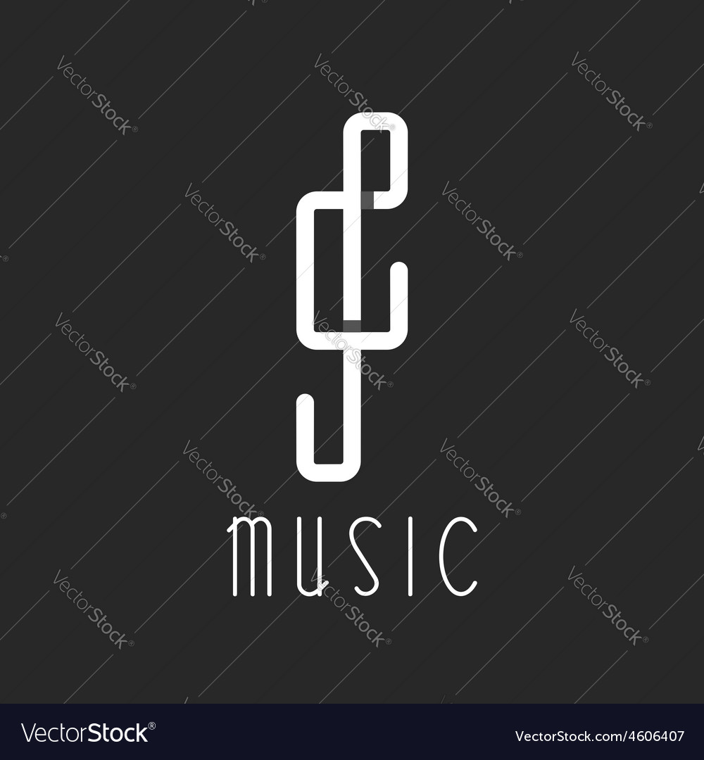 Music key logo overlapping lines black and white vector