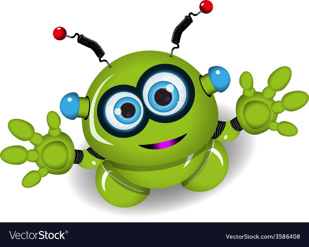 Cute green robot vector