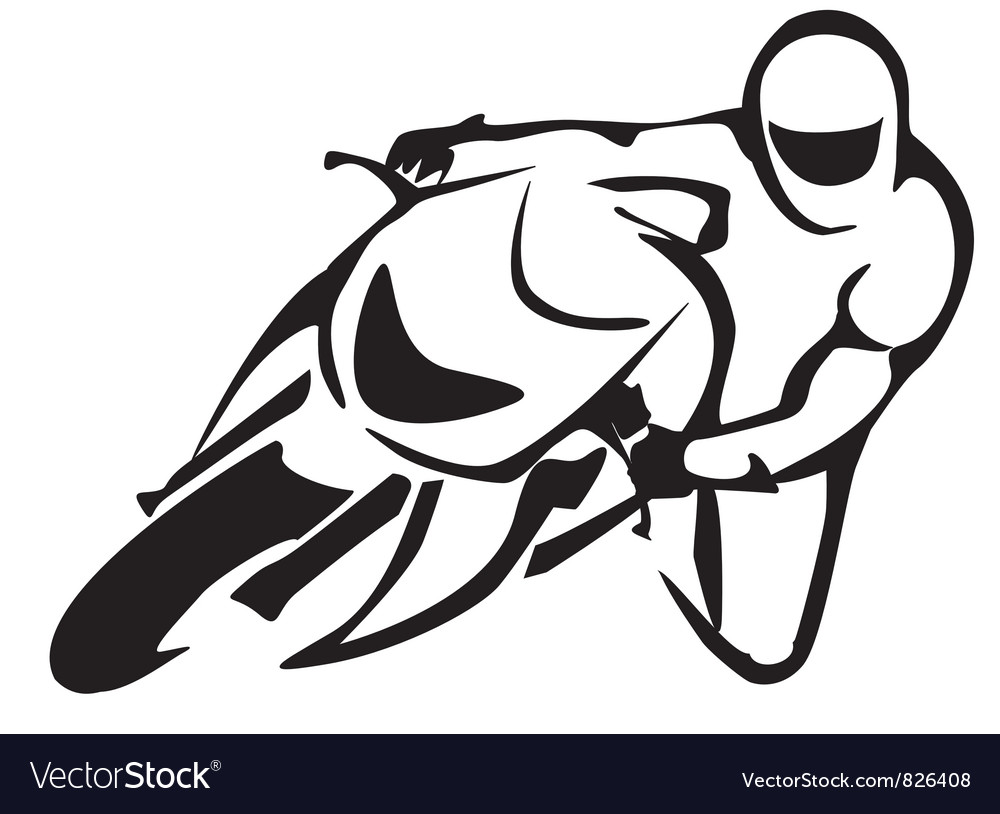 Motorcicle driver symbol vector