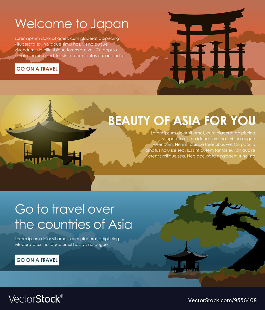 Set banners travel to japan vector