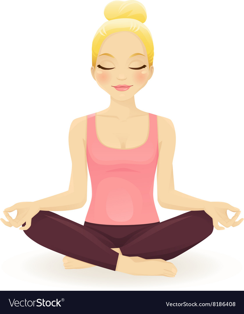 Young woman practicing yoga in lotus pose vector