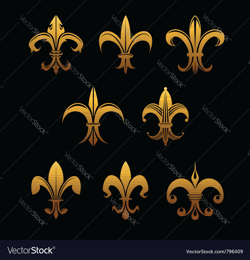 Golden royal lilies vector