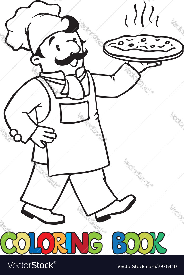 Coloring book of funny baker or chef with pizza vector