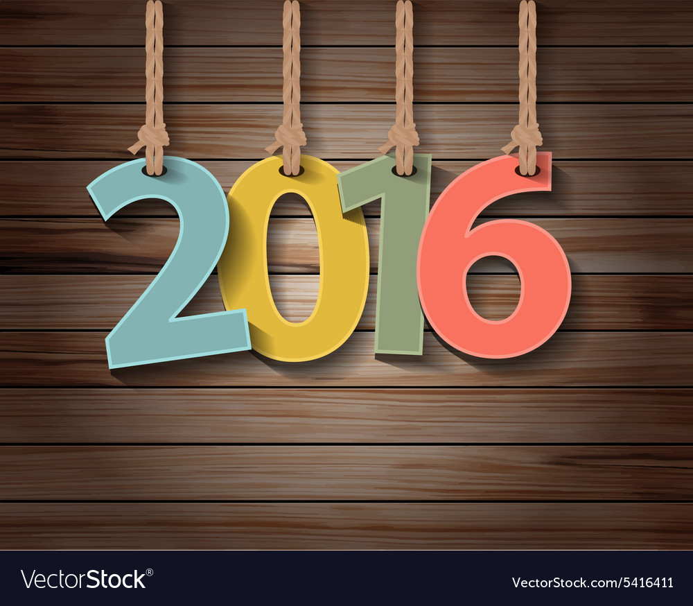 Happy new year 2016 paper greeting card on wood vector
