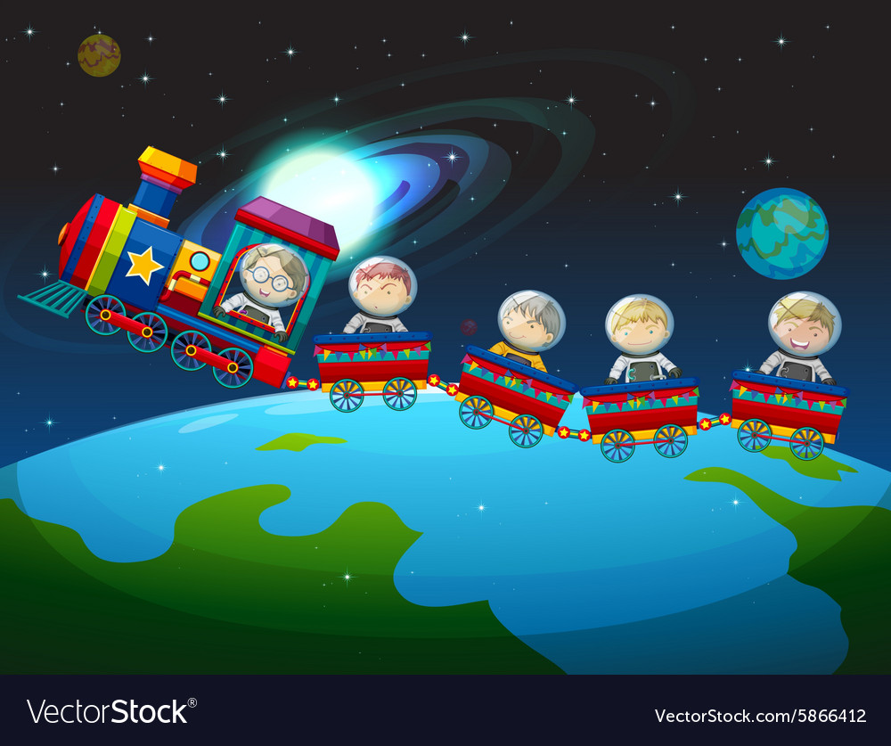 Children riding train in space vector