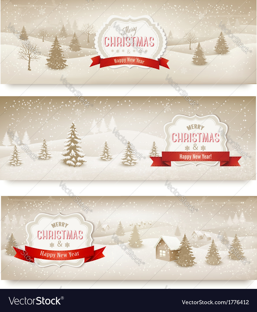 Three christmas holiday landscape banners vector