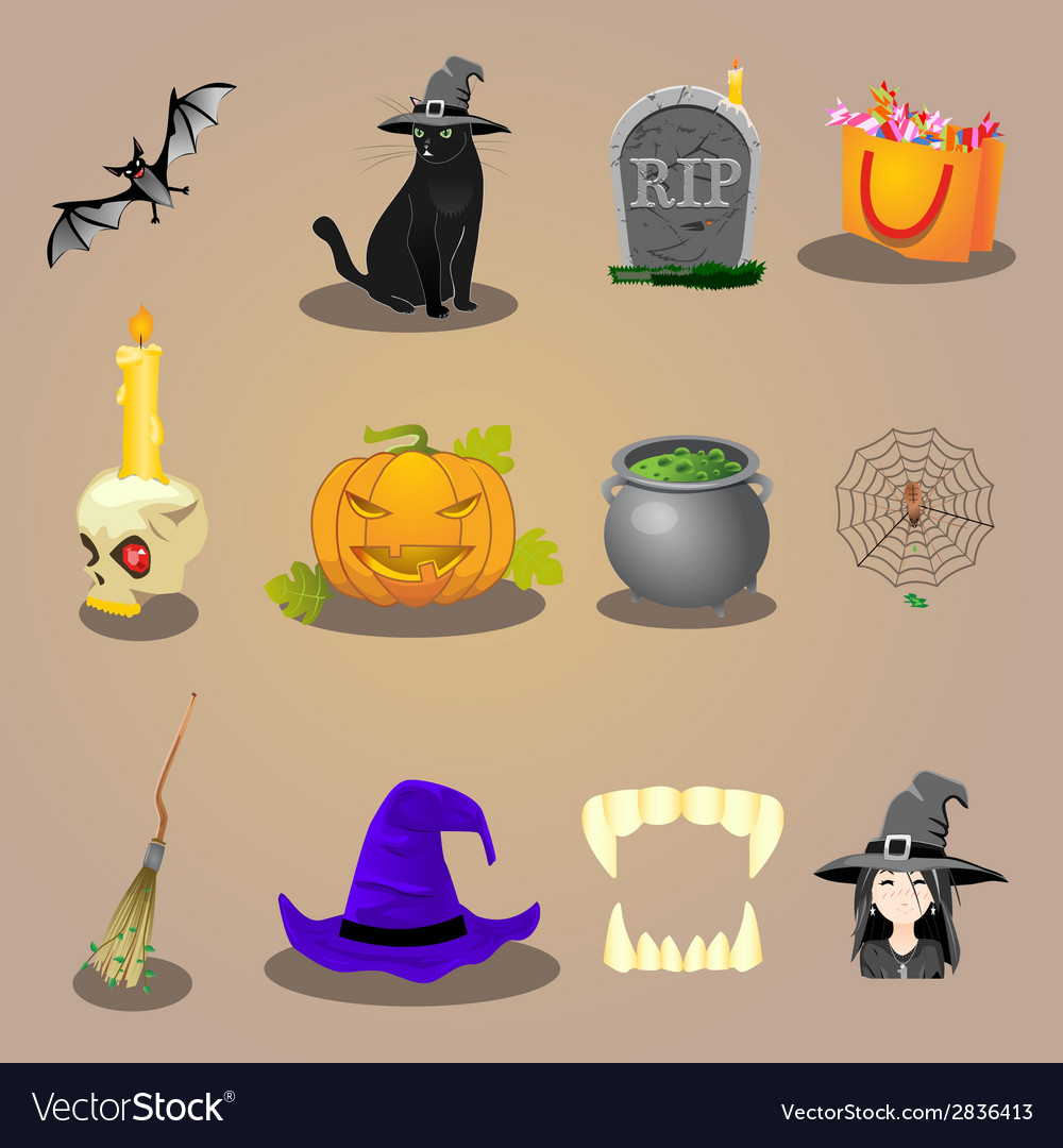 Halloween accessories and characters icons set vector