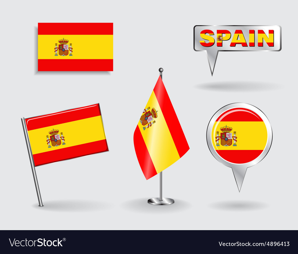 Set of spanish pin icon and map pointer flags vector