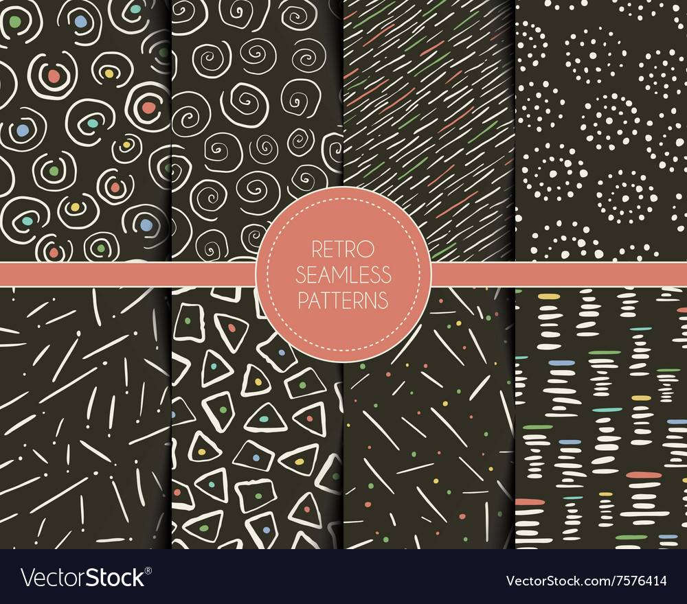 Set of retro style seamless patterns with vector