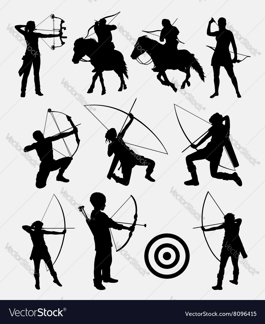 Archery male and female sport silhouette vector