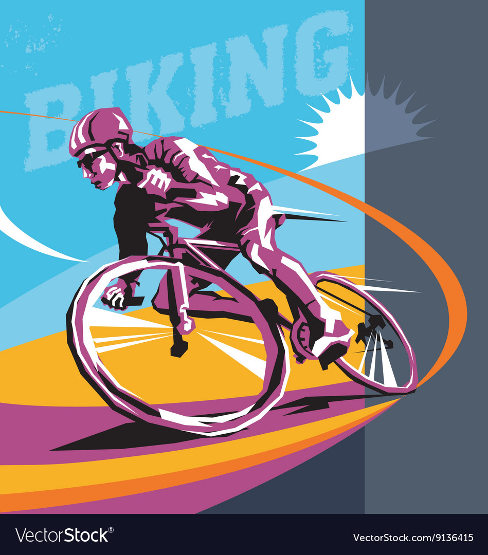 Biking cyclist poster vector