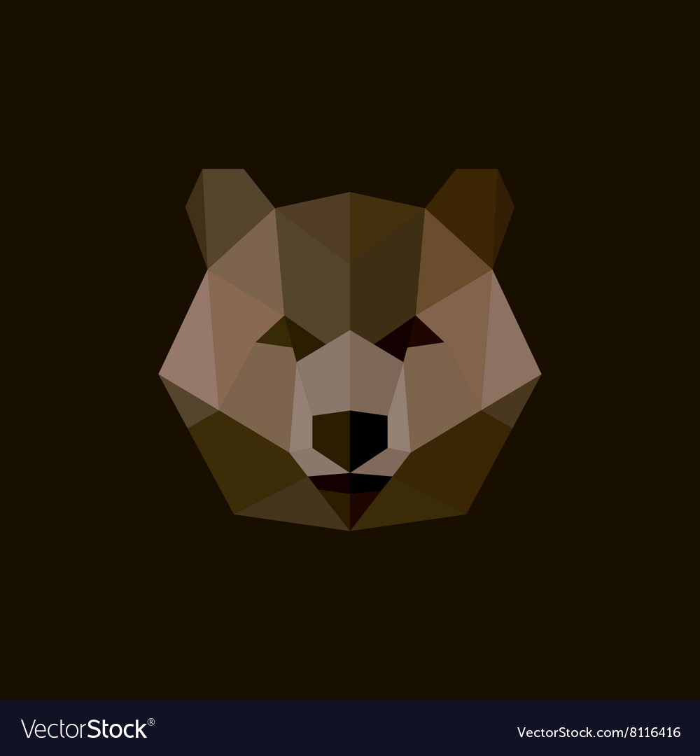 Brown bear style low poly highquality vector