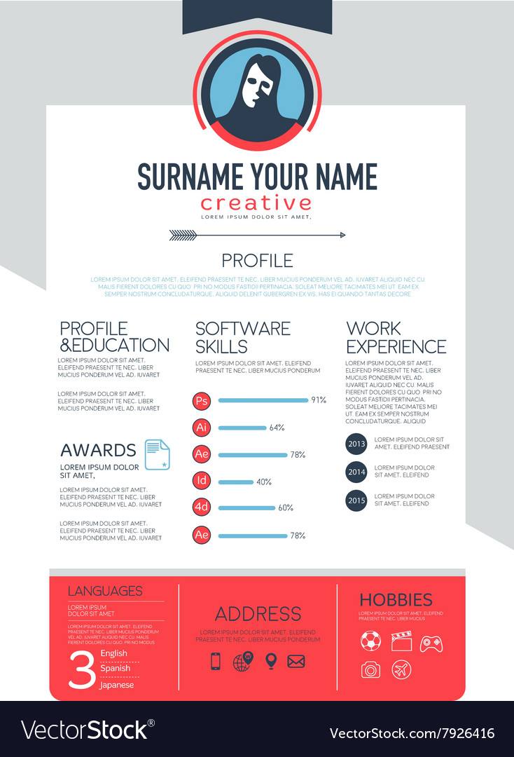Resume template cv brochure layoutmagazine vector