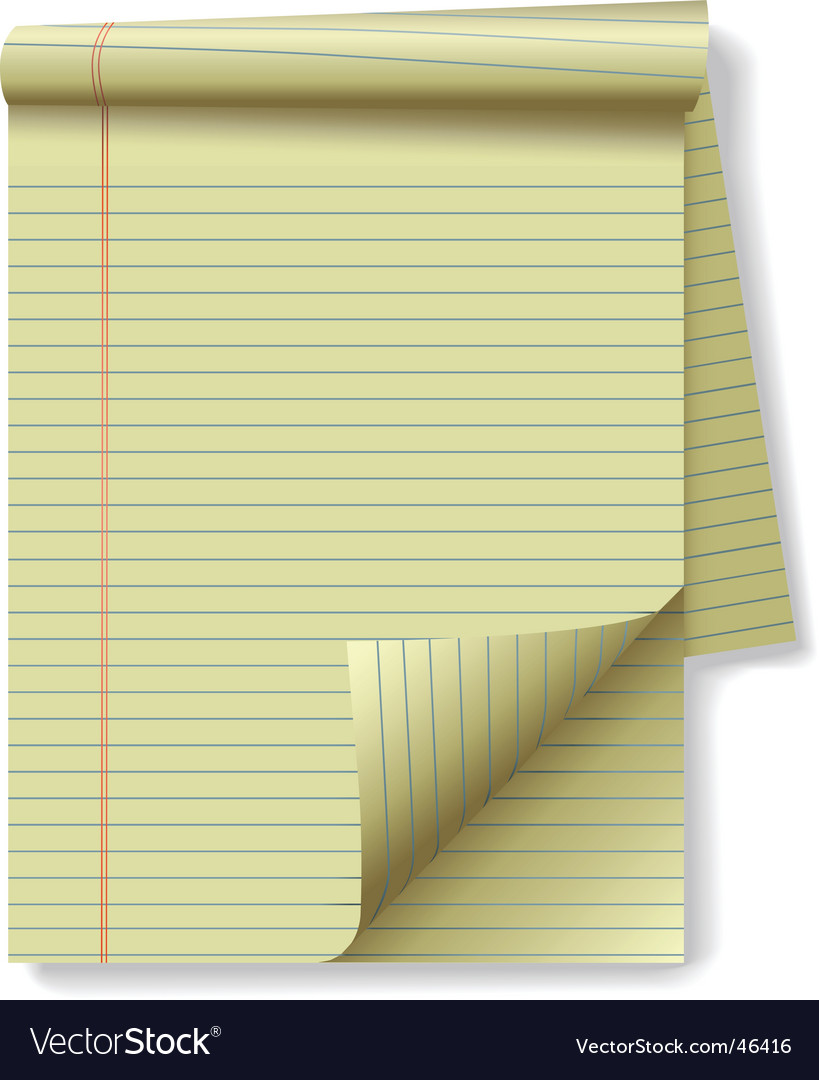 Yellow legal pad vector