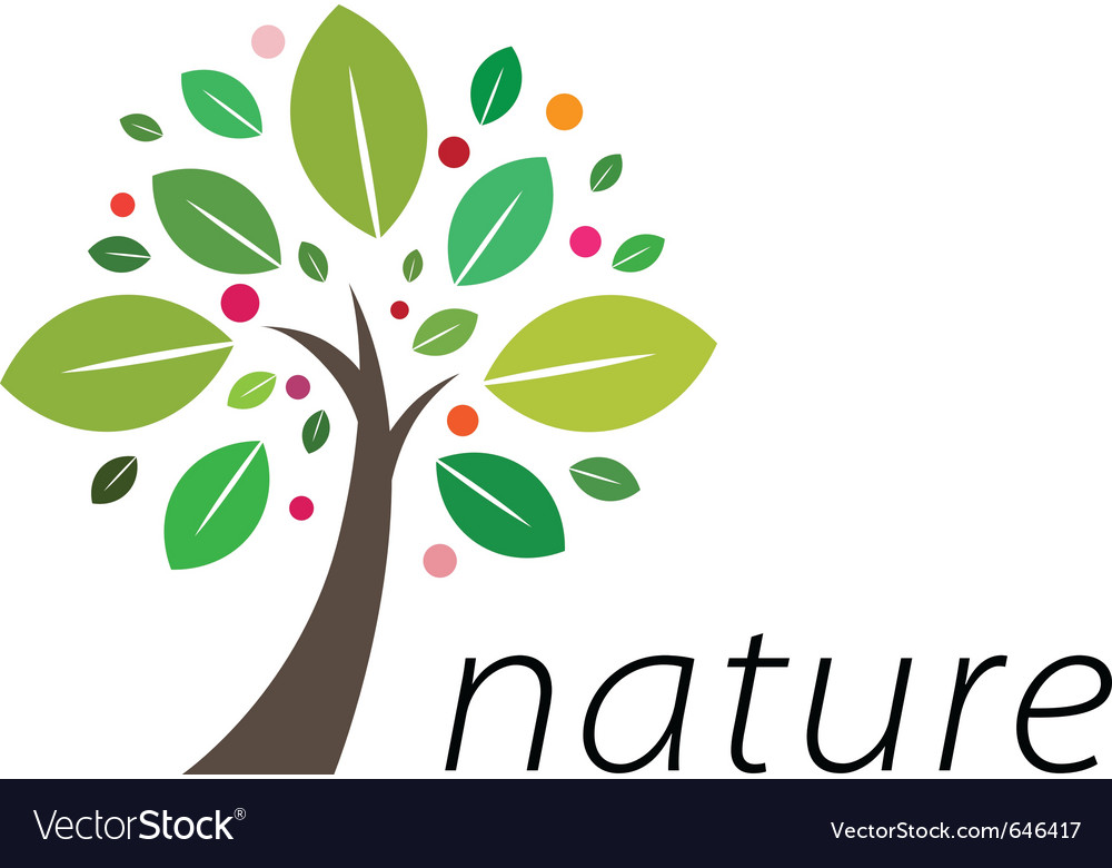 Fruitful tree logo vector