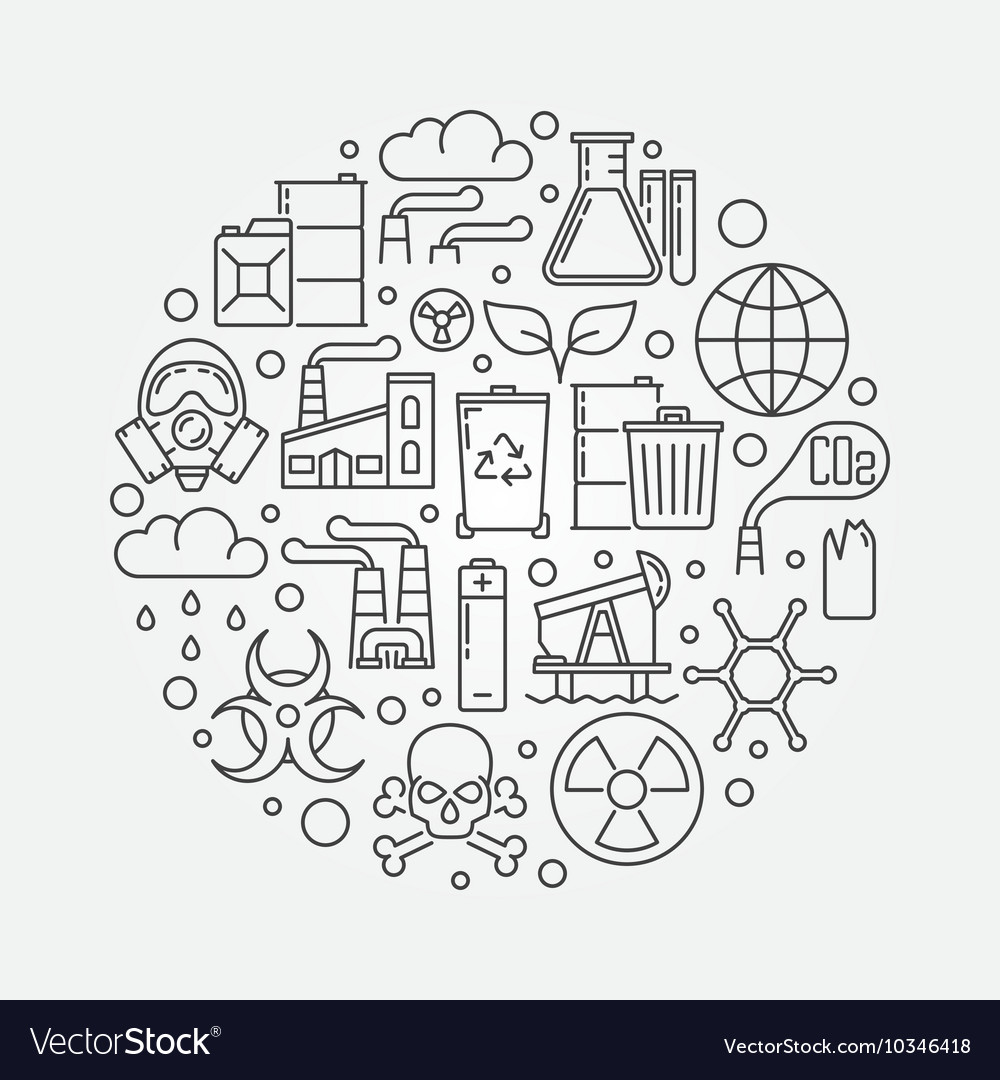 Pollution outline vector
