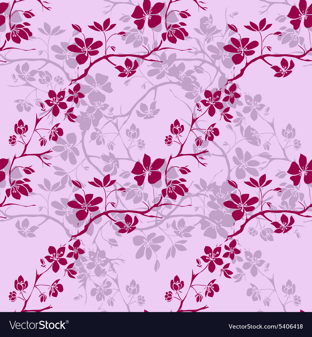 Twig cherry blossoms seamless vector